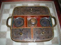 Antique Late 19th Century Chinese Black Cloisonne Writing Set 13x10x3