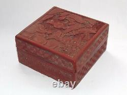 Antique Late 19th Century Chinese Cinnabar Red Lacquer Box Carved Figures, Rural