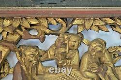 Antique Late 19th Century Chinese Hand Carved Gilt Lacquer Panel, c 1890