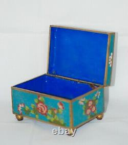 Antique Late Qing Chinese Cloisonne Enamel Gilt Copper Hinged Box