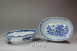 Antique Pair of Chinese blue and white oval bowls, late Qianlong (1736-95)