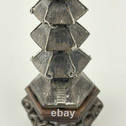 Antique Solid Silver Chinese Pagoda On Carved Wooden Base By Cumwo Late 19thC