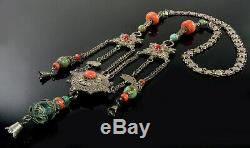 Antique Tibetan Chinese Coral Turquoise Silver Necklace C. Late 19th Century