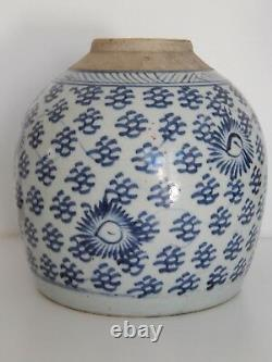 Antique late Ming Chinese stoneware Blue & White Ginger / Spice Jar c1640