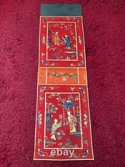 BEAUTIFUL ANTIQUE LATE 19th c QIING CHINESE EMBROIDERED PANEL EMBROIDERY 82cm L