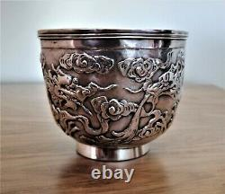Beautiful Chinese Export Silver Tea Cup HUNG CHONG late 19th Century