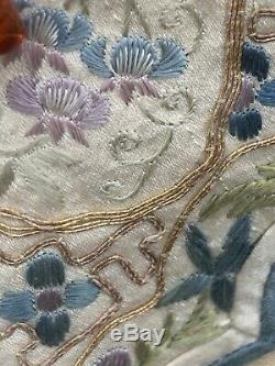 C1895 Late Qing Dynasty Chinese Silk Ladies Court Collar With Gold Threading
