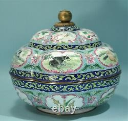 CHINESE Painted Canton Enamel Covered Bowl Emblematic of Harvest late 19th C