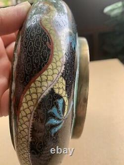 Chinese Antique Cloisonne Dragon Platter Bowl Late Qing/Early Republic