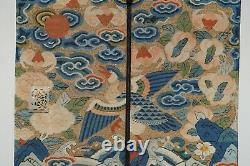 Chinese Antique Kesi Hand Bag With Mirror And Comb, Late Qing / Early Republic
