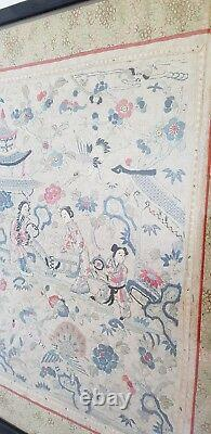 Chinese Export Cantonese Silk Embroidery. Depicting oriental figures. Late C19th