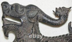 Chinese Late 19th Century Ornate Hand Carved Wood and Lacquered Dragon Figure