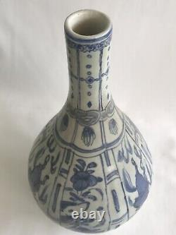 Chinese Late Ming dynasty Wanli Large Vase 28cm Height Kraak ware Bottle