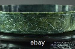 Chinese Nephrite Spinach Jade Marriage Bowl, Birds & Flowers, Late19/Early20thC