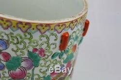 Chinese Wuchai Cylindrical Jar With Domed Cover Late Qing Dynasty
