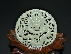 Chinese late Qing Dynasty celadon nephrite Hetian jade dragon amulet
