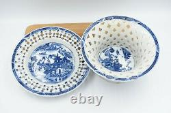 Chinese porcelain chestnut basket bowl with tray late 18th c qianlong