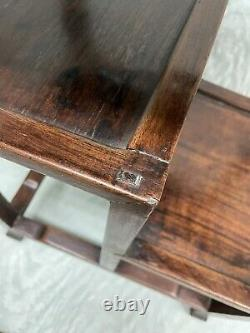 Elegant Late 19th Century Chinese Huanghuali Wood End Table with 2 Shelves