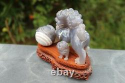 Exceptional Chinese carved agate temple Fu Dog, Late Qing Dynasty