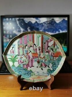 Fine Antique Chinese Late Qing Dynasty famille rose Porcelain tea tray plate