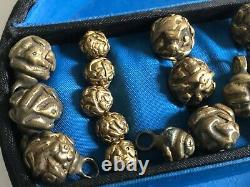 Group of Antique Late Qing Chinese Bronze Robe Buttons Qty 22