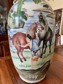 Huge Chinese Antique Porcelain Vase, Late Qing or Republic, 58cm, Bo Le Xiang Ma
