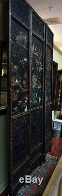 Important Palace-Size Late 19th Century Chinese Jade Inlaid Black Lacquer Wood