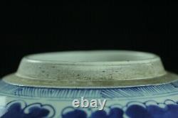 Jul169 Chinese Late Qing Blue White Porcelain Dragon Cloud Covered Pot Bottle