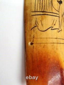 LATE 18'th CENTURY CHINESE EROTIC SCRIMSHAW PANEL FROM POSTURE BOOK