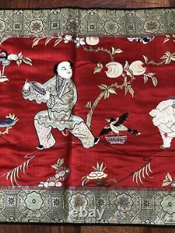 Large Antique / Vintage Chinese Silk Embroidery Late 19Th Early 20th C