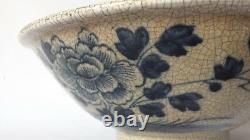 Large Chinese Late Qing Brown Crackle Glaze Porcelain Bowl Blue Flowers