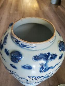 Large Late 19th Century Chinese Blue and White Porcelain Covered Ginger Jar