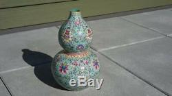 Large late 19th Century Daoguang Chinese Famille Rose Turquoise Vase