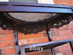Late 18th / 19th C. Chinese Demi-Lune Marble Top DRAGON Table YUEYAZHUO