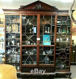 Late 18th C English Chinese Chippendale Mahogany Breakfront Cabinet Bookcase