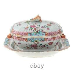 Late 18th Century Chinese Famille Rose Lidden Tureen with base plate