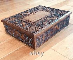 Late 19th C. Chinese Carved hardwood folding low table or stool