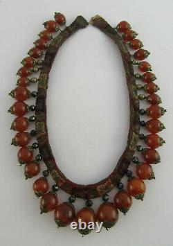 Late 19th C Chinese Gold Mounted Carnelian, Obsidian & Silver Gilt Silk Necklace