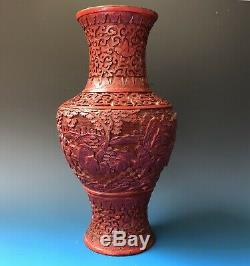 Late 19th Century Chinese Deeply Carved Cinnabar Lacquer Vase (Revised)