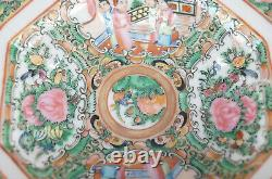 Late 19th Century Chinese Export Hand Painted Rose Medallion Covered Butter Dish