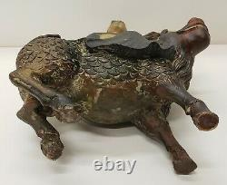 Late 19th Century Chinese Woman Riding Qilin Polychrome Wooden Figure