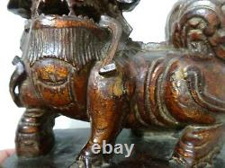 Late 19th-early 20th C Chinese Antique Hand Carved, Lacquered Foo Dog Wood Bknds