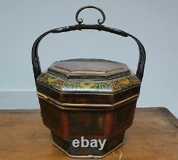 Late 19th/early 20th Century Chinese Painted Bamboo Wedding Lunch Box
