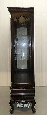 Late 20th Century Display Glazed Cabinet On Cabriole Legs & Glass Shelves