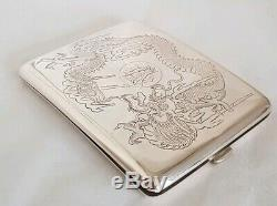 Late C19 Chinese Export silver case. Decorated in relief with Dragons. By Zee Wo