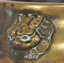Late Ming Early Qing Chinese Bronze Lion Mask Squat Incense Burner Censer XUANDE
