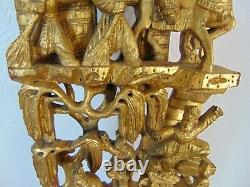 Late Qing Chinese Gilded Carved Gilt Gold Wood Relief Panel Opera Scenes