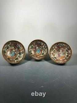 Late Qing Dynasty Chinese Canton Glazed Porcelain Three Bowls Set