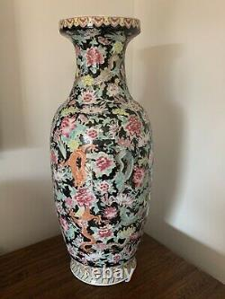 Late Qing Dynasty Chinese polychrome floor vase