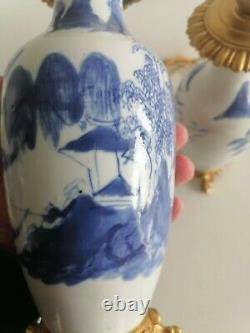 Late Qing Period Pair Chinese Blue And White Ormolu Mounted Vase Lamp Landscape